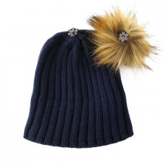 GRE bonnet pompon marron 2